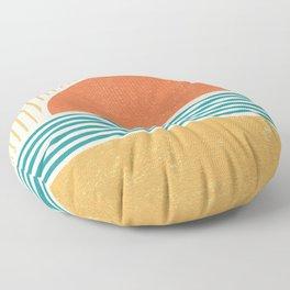 Sun Beach Stripes - Mid Century Modern Abstract Floor Pillow