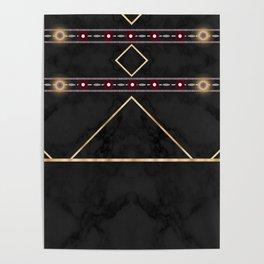 Golden Sun Mandala Ruby Flowr over BlackMarble Poster