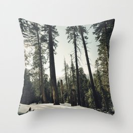 Winter Sequoia Forest Throw Pillow