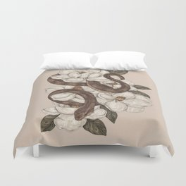 Snake and Magnolias Duvet Cover