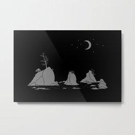 Moon Over Three Graces Grey on Black Metal Print