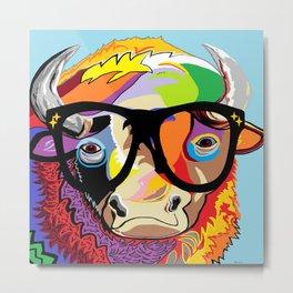 """Hipster Bison """"Buffalo"""" Metal Print"""