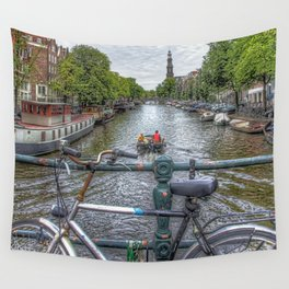 Amsterdam Bridge Canal View Wall Tapestry