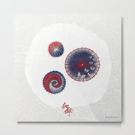 Oil Paper Umbrella / Wagasa (和傘) Metal Print