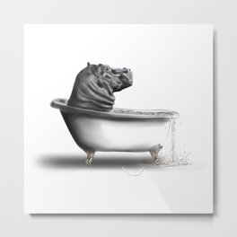 Hippo in Bath Metal Print
