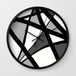Geometric Line Abstract - Black Gray White Wall Clock