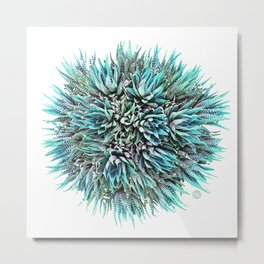 Cactus Crown 1. Blue & Green #decor #buyart Metal Print