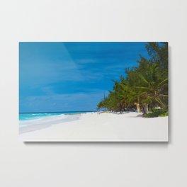 Tropical Beach in Barbados Metal Print