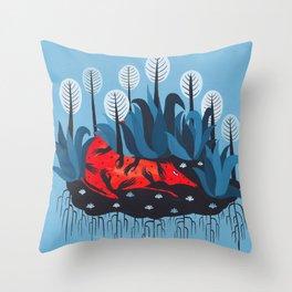 Smug red horse 3. Throw Pillow