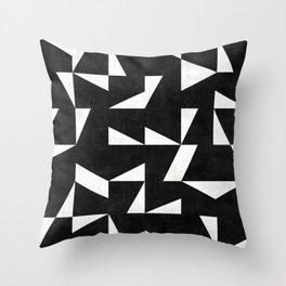 Mid-Century Modern Pattern No.10 - Black and White Concrete Throw Pillow