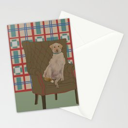 Dog in a chair #5 Golden Lab Stationery Cards