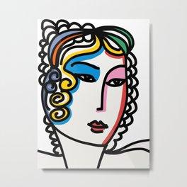 Minimal Portrait of a Rainbow Girl  Metal Print