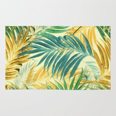 Palm Leaves in Yellow Rug