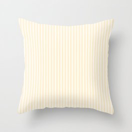 Classic Small Buttercup Yellow Pastel Butter French Mattress Ticking Double Stripes Throw Pillow