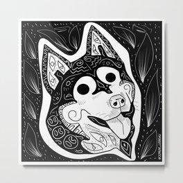 Kawaii Husky Ecopop Metal Print