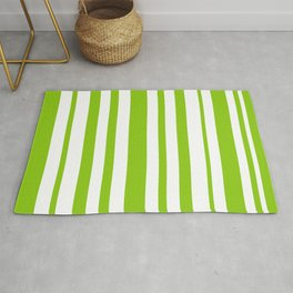 Lime Green and White Stripes Minimalist Color Block Pattern Rug