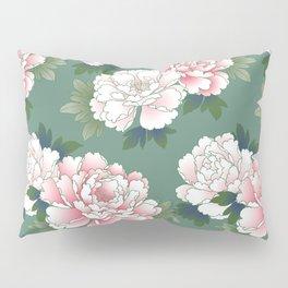 Japanese Vintage Pink Peonies Green Leaves Kimono Pattern Pillow Sham