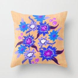 Butter Blue Blooms Throw Pillow