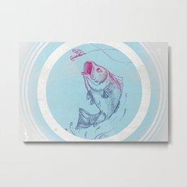 Largemouth Bass Jumping Out Of Water In Blue Circle  // Spinner Lure // Splashing Water // Fish On! Metal Print