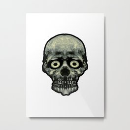 Funny Scared Skull Artwork Metal Print