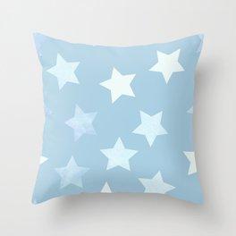 sweet pastel sky denim blue colors stars pattern Throw Pillow