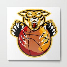 Tiger Basketball Ball Claws Metal Print