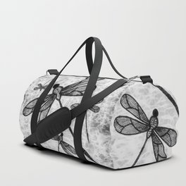 Bold black and white embroidered dragonflies on texture Duffle Bag