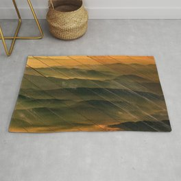 Faux Wood Foggy Mountain Layers at Sunset Rural Landscape Photography Rug