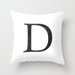 Letter D Initial Monogram Black and White Throw Pillow