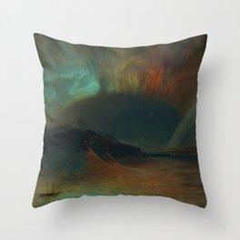 Classical Masterpiece 'Aurora Borealis' by Frederic Edwin Church Throw Pillow