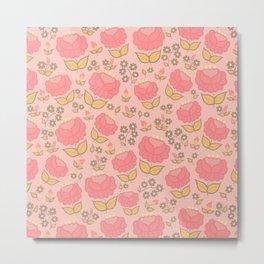 Retro floral - red, light pink, mustard Metal Print