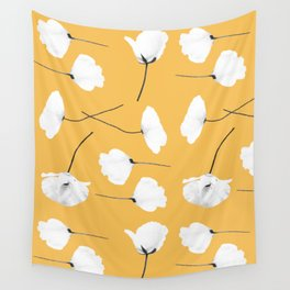 Poppies on mustard Wall Tapestry