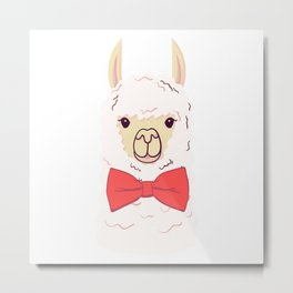 Cute Llama with bow-tie. Print for fabric, t-shirt, poster Metal Print