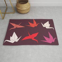 Japanese Origami paper cranes sketch, symbol of happiness, luck and longevity Rug