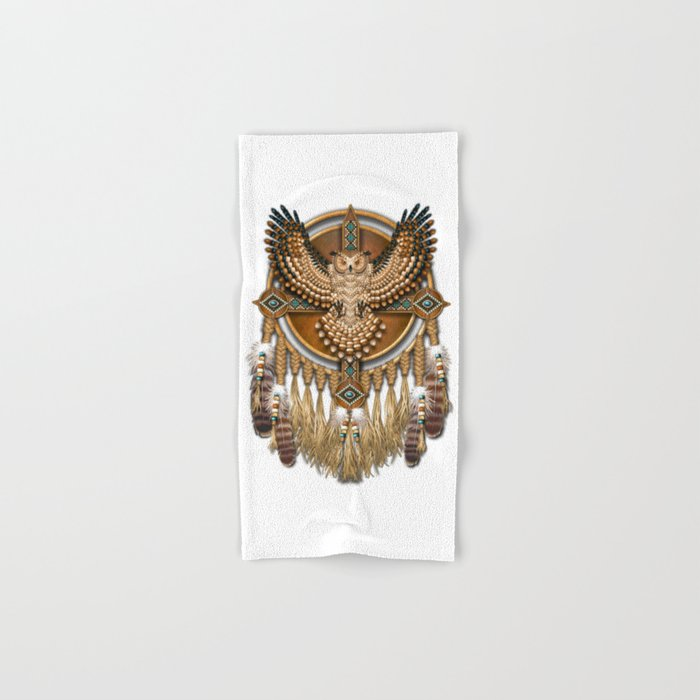 Native American-Style Great Horned Owl Mandala Hand & Bath Towel