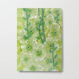 Hollyhock Mallows, Summer Flowers, Floral Collage Chartreuse Metal Print