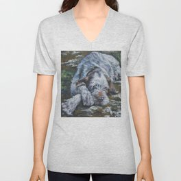 Spinone Italiano dog art portrait from an original painting by L.A.Shepard Unisex V-Neck