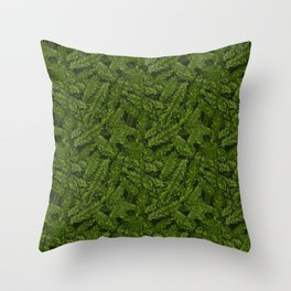 Redwood Leaves Summer Green Throw Pillow