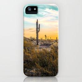 Desert Sunrise // Saguaro Cactus Summer Sun Arizona Nature Landscape Teal Blue Green Sky iPhone Case
