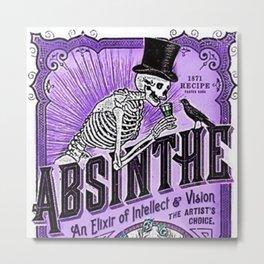 Vintage 1871 Purple Absinthe Liquor Skeleton Elixir Aperitif Cocktail Alcohol Advertisement Poster Metal Print