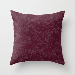 Chic burgundy silver glitter elegant flowers pattern Throw Pillow