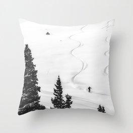 Backcountry Skier // Fresh Powder Snow Mountain Ski Landscape Black and White Photography Vibes Throw Pillow