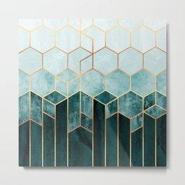 Teal Hexagons Metal Print