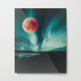 Blood Moon Over Iceland Metal Print