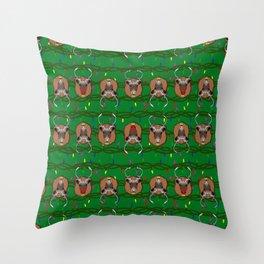 santa's reindeer trophys ugly christmas sweater Throw Pillow