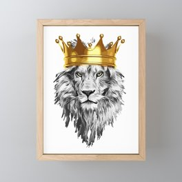 lion with a crown power king Framed Mini Art Print