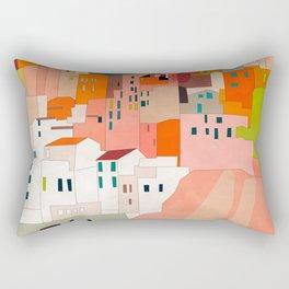 italy coast houses minimal abstract painting Rectangular Pillow