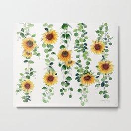 Eucalyptus and Sunflowers Garland  Metal Print
