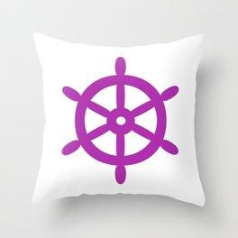 Ship Wheel (Purple & White) Throw Pillow