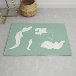 Girl with White Cat, Mint Color / Line Art Rug